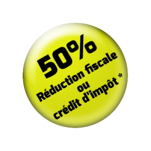 50% réduction fiscale ou crédit d'impôts